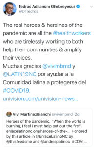 Photo of a tweet from the World Health Organization